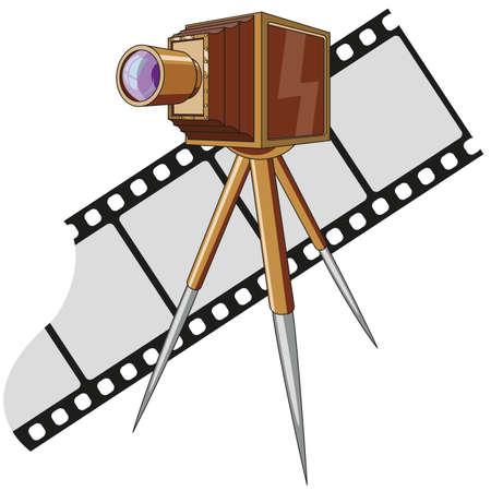 古い写真のカメラの三脚