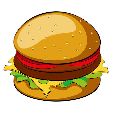 Burger on white background  Vector illustration  Clip-art