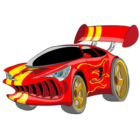 Cartoon red sport car isolated on white background. Vector