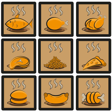 common food and everyday meal collection of symbols and emblems Vector