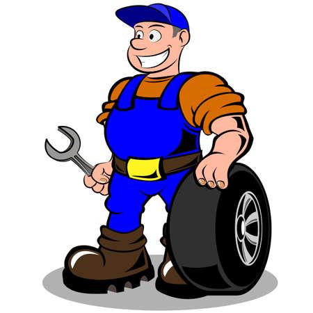 mekanik: bilmekaniker med hjulet vektor illustration isolerade på vit bakgrund Illustration