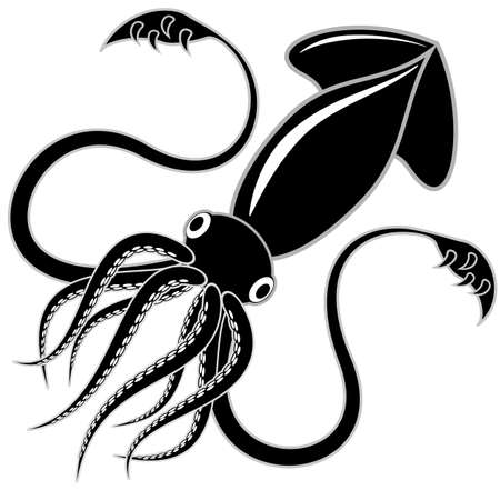 Black and white vector illustration of a squid