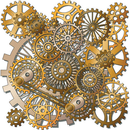 clock gears: the gears in the style of steampunk. Gradient mash