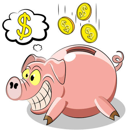 pig piggy Bank with the money. Vector illustration