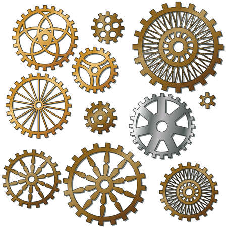 the gears in the style of steampunk. Gradient mash Vector