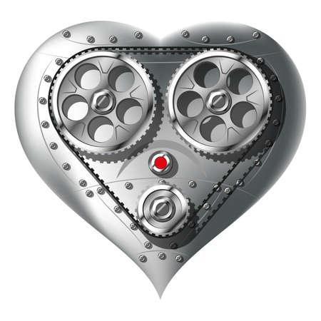 FERRETERIA: Corazón mecánico aislado en fondo blanco Degradado puré