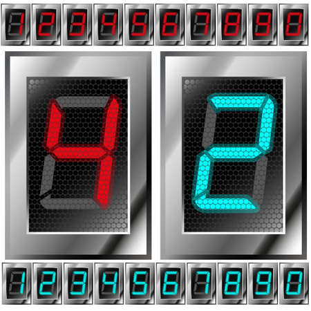 set of electronic digits  red and blue numbers on a dark background  Gradient mash Vector