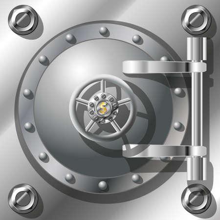 depository: Bank Vault Door, detailed vector illustration  Radient mash