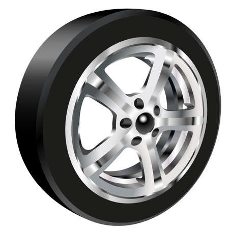 alloy wheel: Detailed illustration of alloy car wheel with a tire. Gradient mash