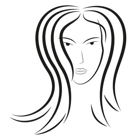 A sketch of a beautiful woman. clip art Vector