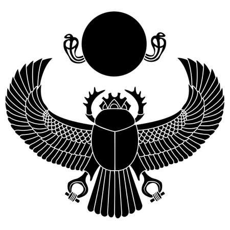 silhouette logo scarab. vector illustration clip art