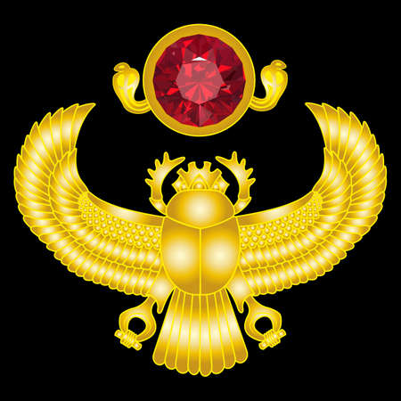 scarab: Golden scarab with ruby sun. vector gradient mesh