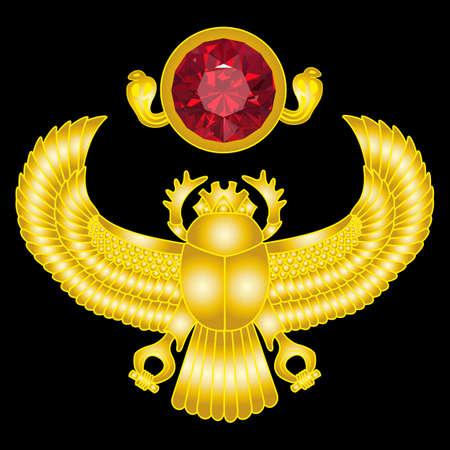 scarab: Golden scarab with ruby sun. vector gradient mesh