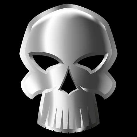 mash: Illustration of evil metal skull over black background. gradient mash Illustration