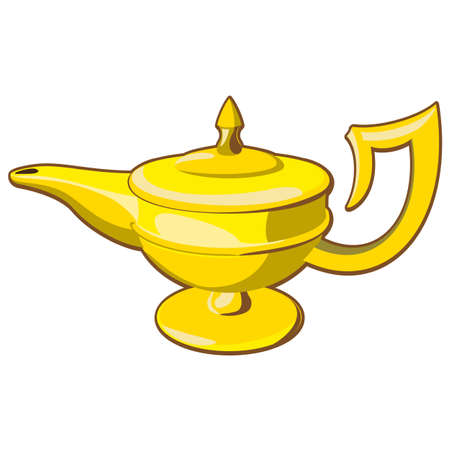 alladin: Doodle style genie aladdins lamp vector illustration