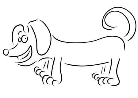 wag: Dachshund dog breed, hand drawing.  illustration.
