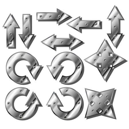 nickel panel: Metal silver glossy arrow icon web 2.0 button
