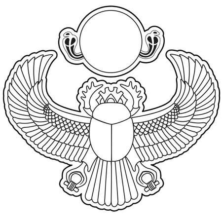 egyptian culture: silhouette scarab. illustration clip art Illustration