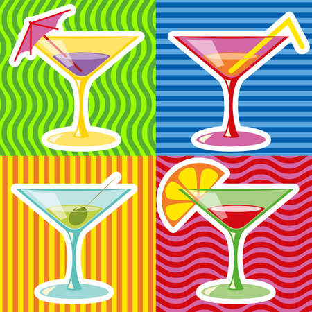 Retro style illustration of martinis on abstract retro  Illustration