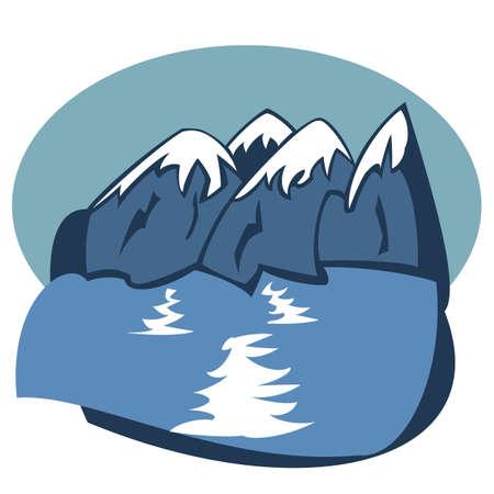 Paisaje con monta�as azules cerca del lago (vector)