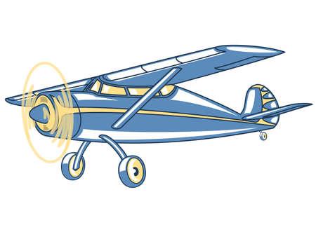 aeronautics: Cartoon retro airplane.Illustration clip art