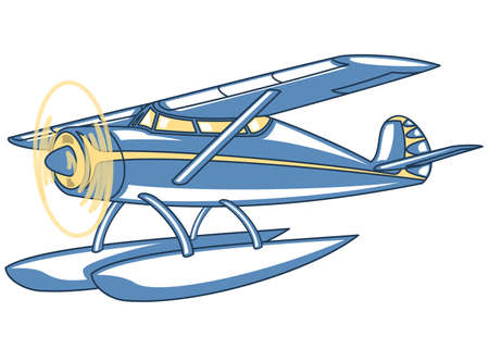 Vector retro seaplane. Illustration clip art
