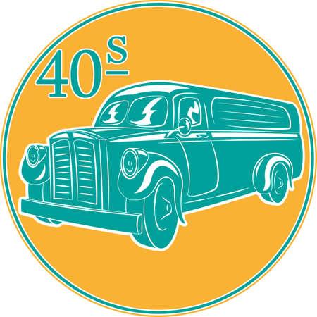 wartime: vector illustration of a Vintage delivery  truck