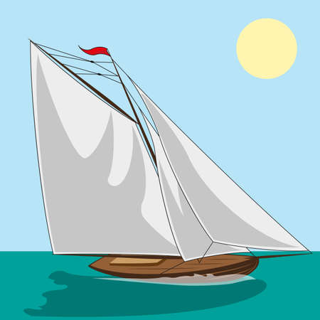 Yacht with white sails. illustration clip art Vector