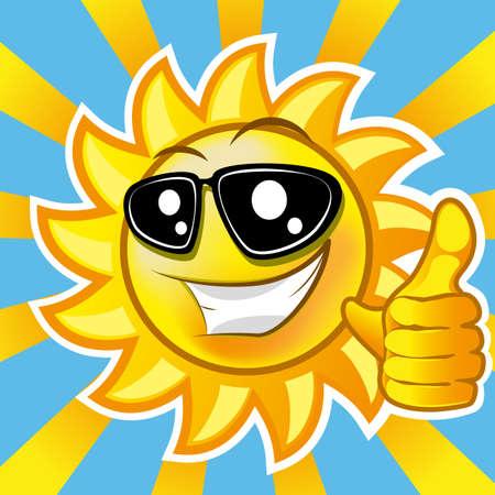 ojos caricatura: Sol sonriente que muestra el pulgar hacia arriba. ilustraci�n clip art gradiente pur� Vectores