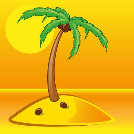tropical palm on island with sea vector illustration gradient mash Illustration
