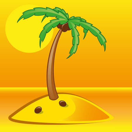 breakers: tropical palm on island with sea vector illustration gradient mash Illustration