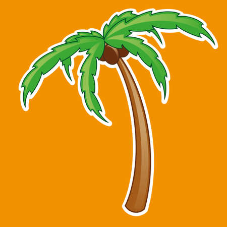 Tropical palm tree symbol isolated vector illustration gradient mash Vector