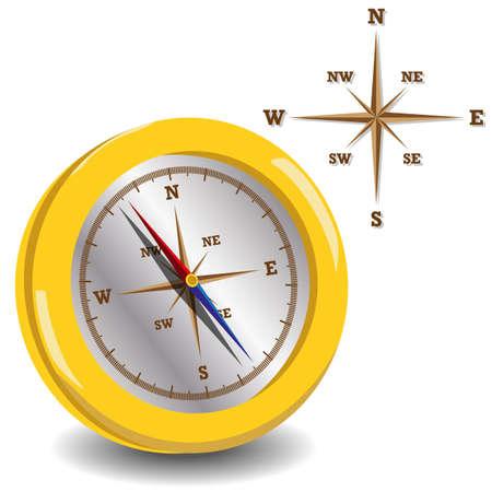 mash: Golden vector compass with wind rose, vector illustration . gradient mash Illustration