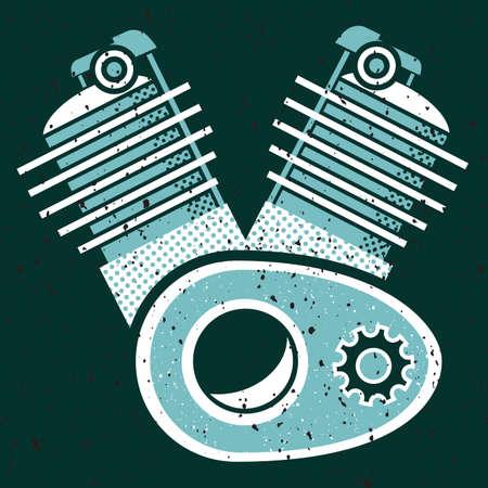 Une illustration évolutive de vecteur d'un moteur de moto