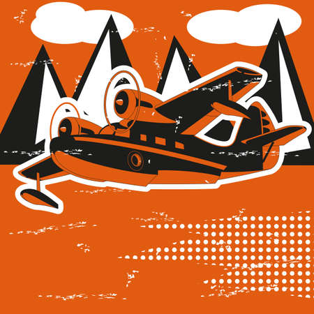 hydroplane: Passenger Sea Plane is featured flying over mountain lake in this sketch-like vector illustration.
