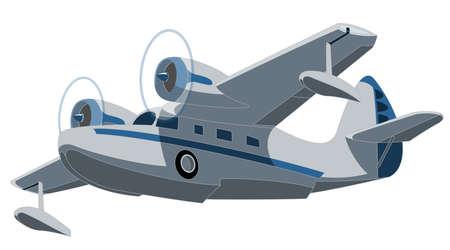 Vector retro seaplane. Illustration clip art Vector