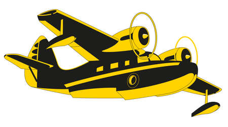 Passenger Sea Plane is featured flying over mountain lake in this sketch-like vector illustration.
