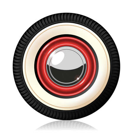 A detailed illustration of the retro automobile wheel. Gradient mash. Vector.