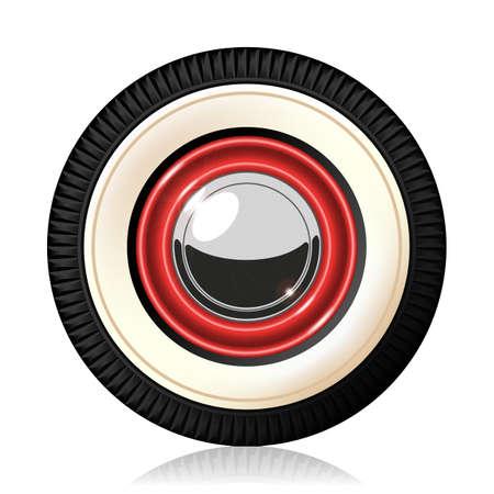 caravans: A detailed illustration of the retro automobile wheel. Gradient mash. Vector.