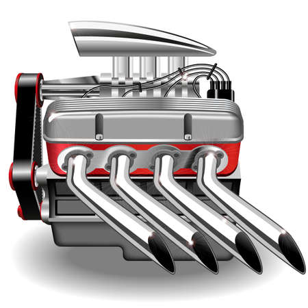Vector illustration of the engine. Gradient mash. Çizim