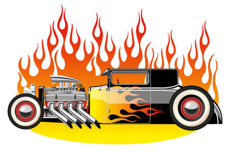 hot rod: A vector illustration of a vintage hot rod. Gradient mash