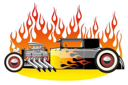 Een vector illustratie van een vintage hot rod. Gradient mash Stock Illustratie