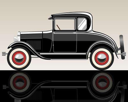 Vector retro car. Gradient mash .Illuctration clip art.