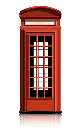 red telephone box: london phone booth. vector illustration. gradient mash