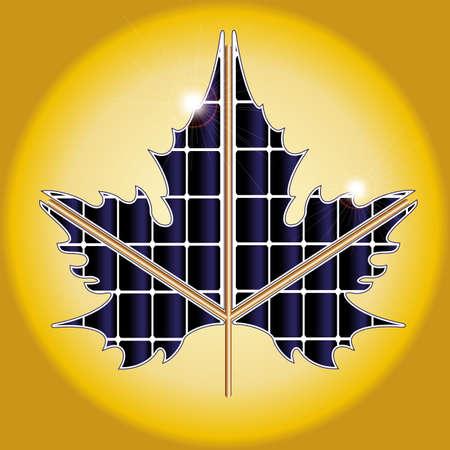 solar battery: Eco concept, vector. maple leaf solar battery. gradient mash