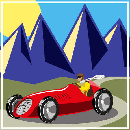Racer driving old fast race car, vector illustration Illustration