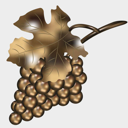 mash: Golden bunch of grapes. gradient mash .vector Illustration