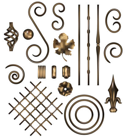 the set of vector forged parts. gradient mash Vector