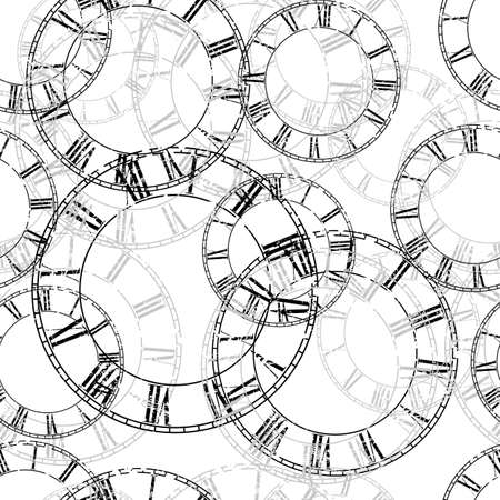 Vector vintage clock on white .Seamless background Illustration clip art