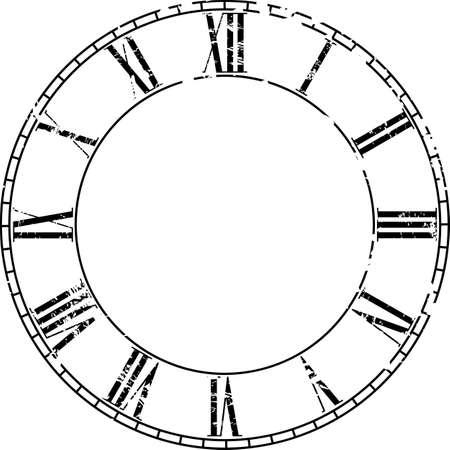 clock face: Vector vintage clock on white . Illustration clip art Illustration
